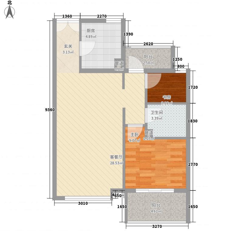新弘国际阳光城8.43㎡C-2奇数层两居户型2室2厅1卫1厨
