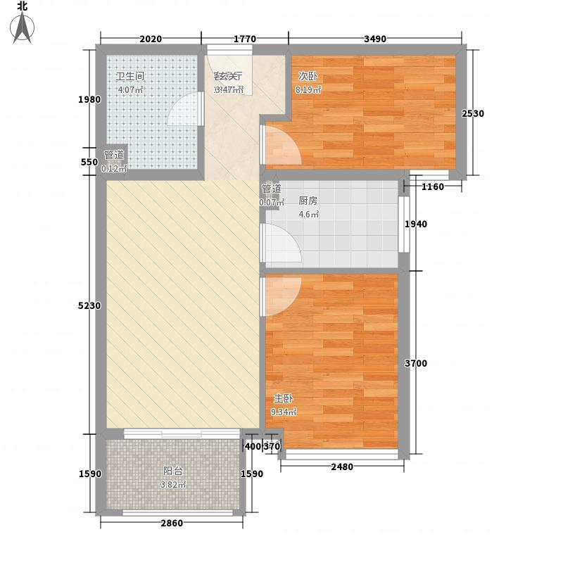 新弘国际阳光城6.00㎡D-2偶数层两居户型2室2厅1卫1厨