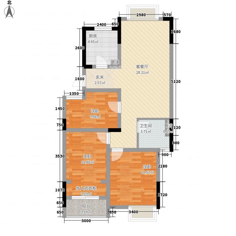 紫元尚堂3室1厅1卫1厨104.00㎡户型图