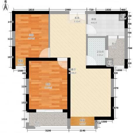 中海万锦城2室1厅1卫1厨87.00㎡户型图