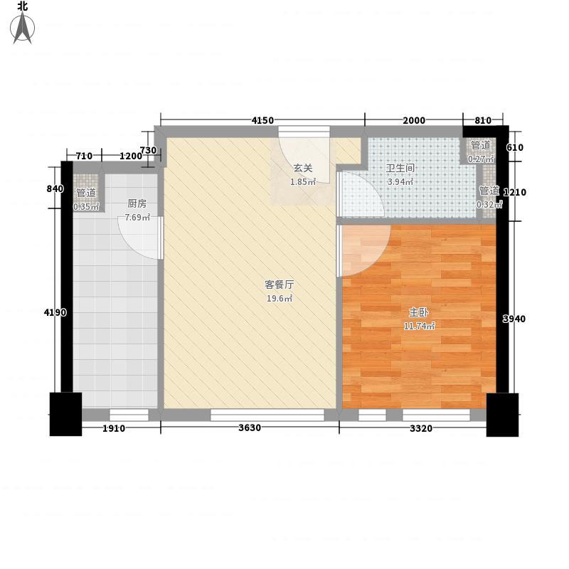 世界侨商中心62.00㎡B1户型1室1厅1卫1厨