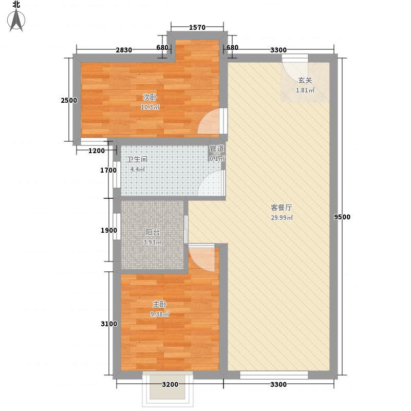 天佑・爱上岛2室1厅1卫0厨83.00㎡户型图