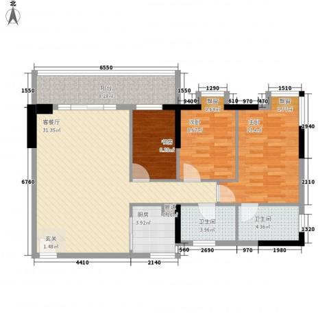东堤水岸3室1厅2卫1厨114.00㎡户型图