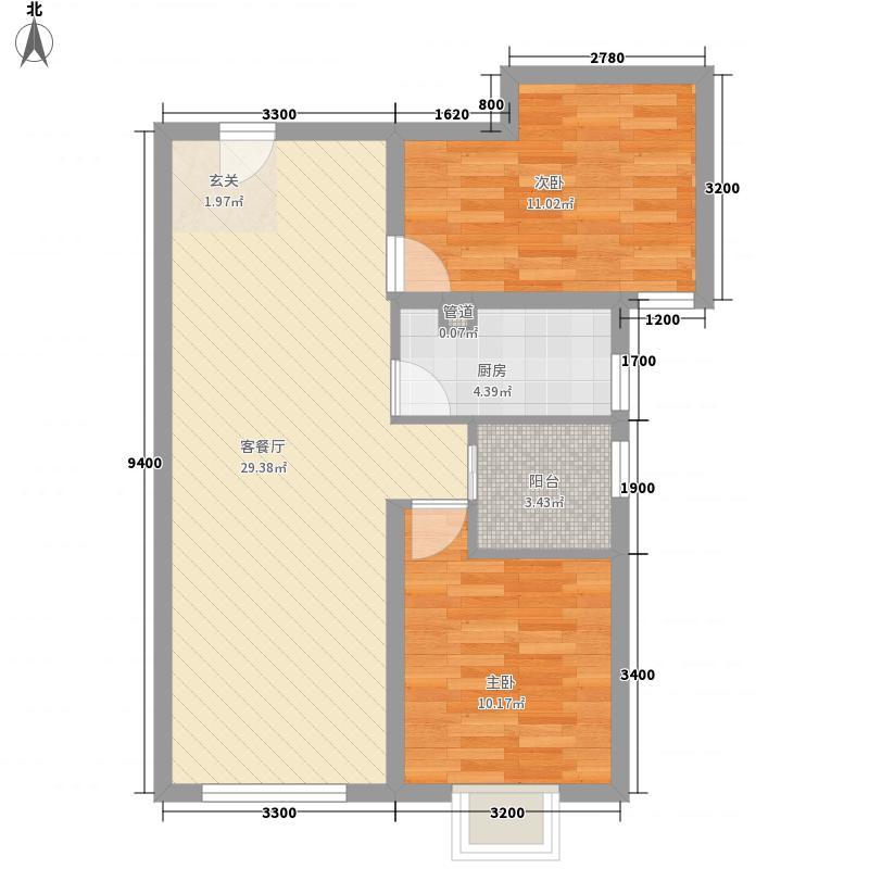 天佑・爱上岛2室1厅0卫1厨84.00㎡户型图