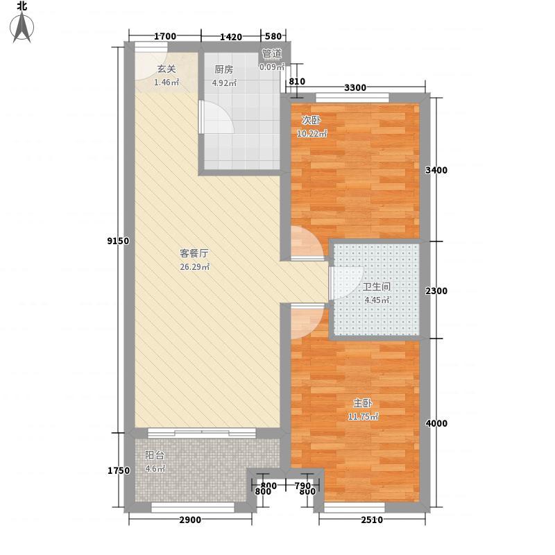 天佑・爱上岛2室1厅1卫1厨62.32㎡户型图