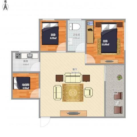 康乐园2室1厅1卫1厨88.00㎡户型图