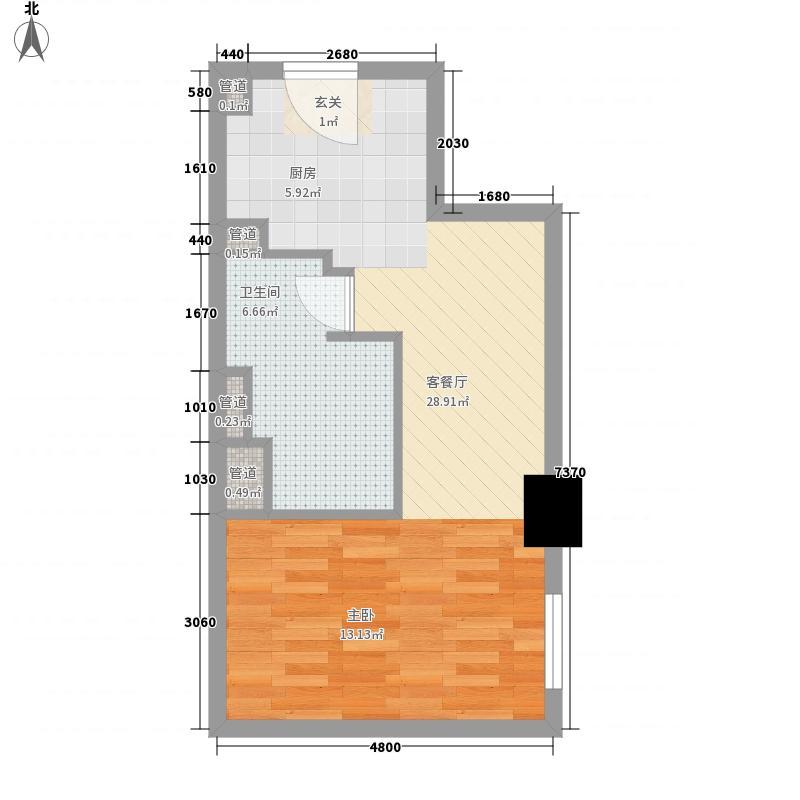 亚奥观典国际公寓67.73㎡C29户型1室1厅1卫1厨