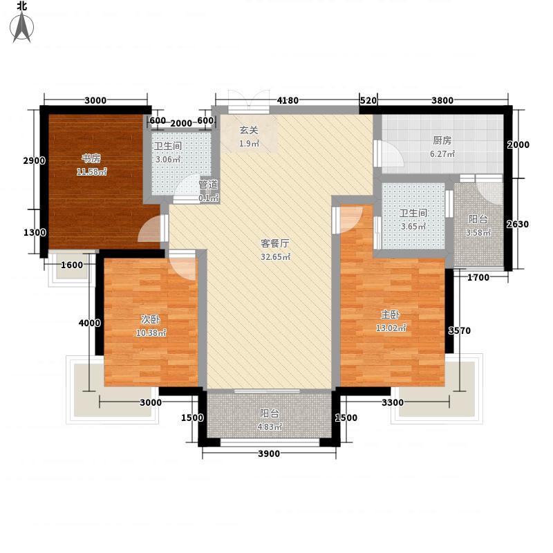 银滩雅苑125.45㎡户型3室