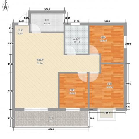 欣悦阳光3室1厅1卫1厨75.46㎡户型图