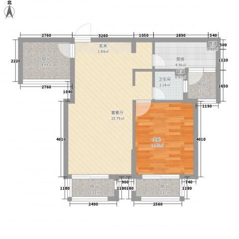 西西那堤三期1室1厅1卫1厨86.00㎡户型图