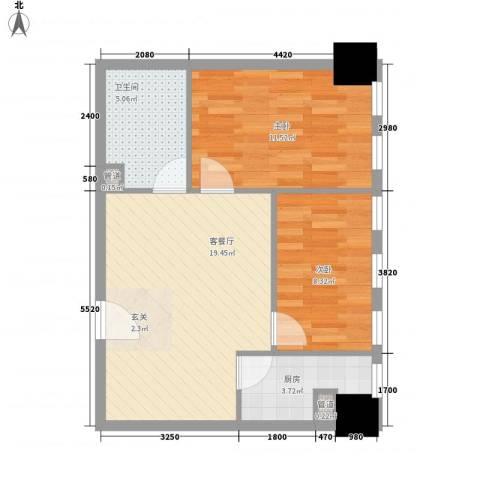 新建Soho2室1厅1卫1厨69.00㎡户型图