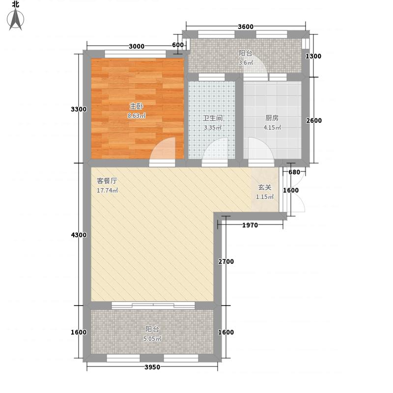 天行健小西湖55.00㎡一期半山洋房标准层C户型1室1厅1卫1厨
