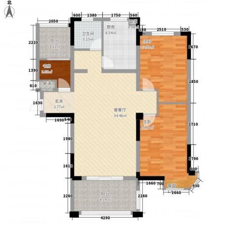 新安・达观天下3室1厅1卫1厨100.00㎡户型图