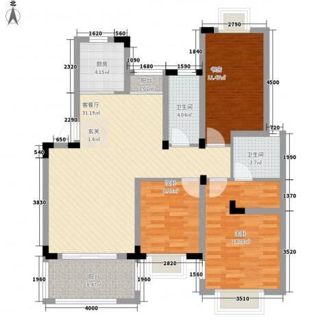 南郡明珠3室1厅2卫1厨107.00㎡户型图