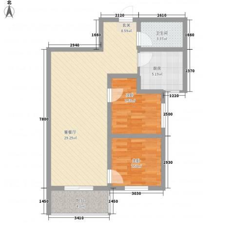 大兴名人居2室1厅1卫1厨83.00㎡户型图