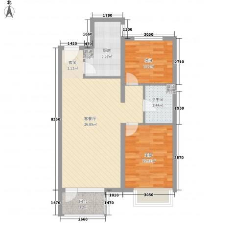 永定河孔雀城莱茵河谷2室1厅1卫1厨81.00㎡户型图