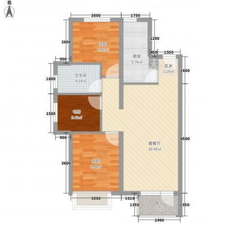 永定河孔雀城莱茵河谷3室1厅1卫1厨61.15㎡户型图