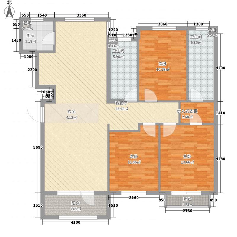 春田3室1厅2卫1厨109.58㎡户型图