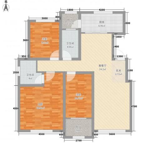 山景御园3室1厅2卫1厨134.00㎡户型图