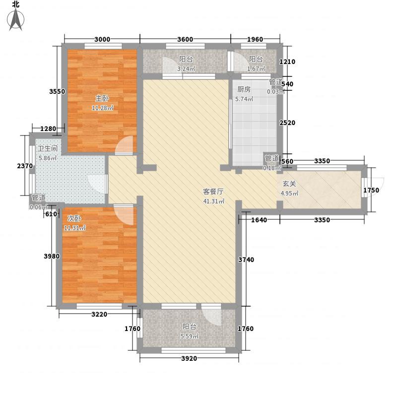 春田2室1厅1卫1厨86.27㎡户型图