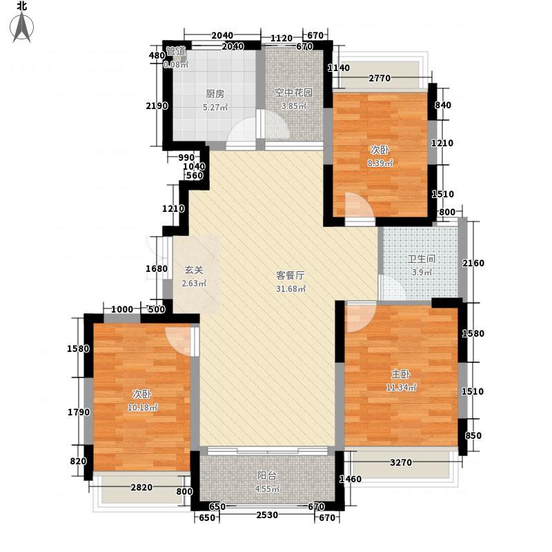 惠都上府名园113.81㎡B1户型3室2厅1卫1厨