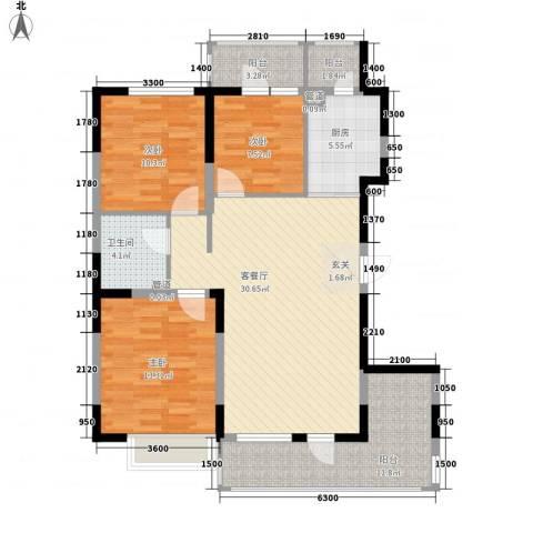 U-WORLD优品天地3室1厅1卫1厨105.00㎡户型图