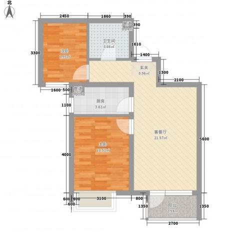 永定河孔雀城莱茵河谷2室1厅1卫1厨74.00㎡户型图