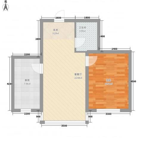 博众新城二期1室1厅1卫1厨60.00㎡户型图