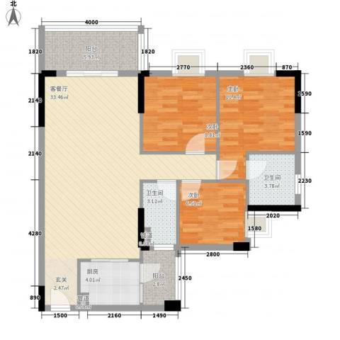 顺丰翠园3室1厅2卫1厨112.00㎡户型图