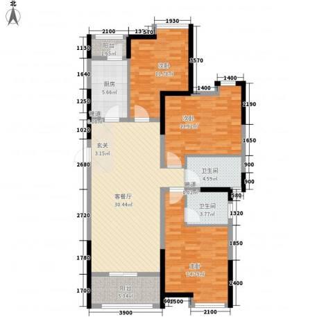 曲江城市花园3室1厅2卫1厨122.00㎡户型图