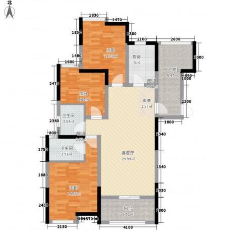 曲江城市花园3室1厅2卫1厨116.00㎡户型图