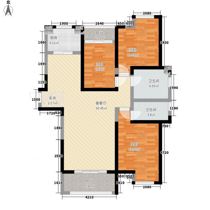 康桥金域上郡134.00㎡一期C6B户型3室2厅2卫1厨
