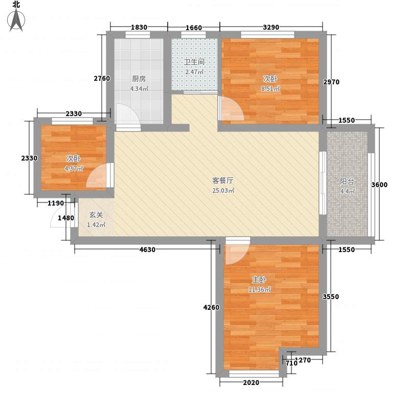 绿博景苑88.00㎡一期B3/D4户型3室2厅1卫1厨