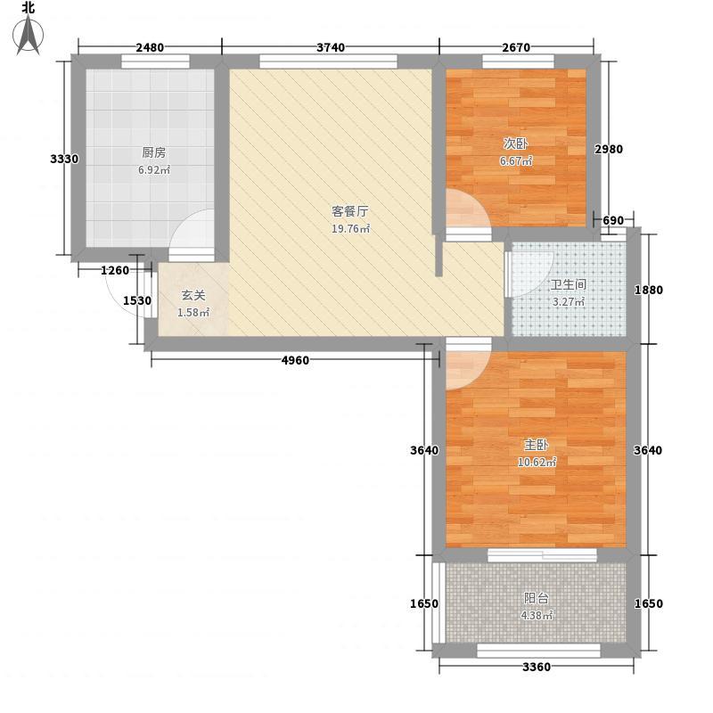 绿博景苑75.45㎡一期A3/B1/D1/E3户型2室2厅1卫1厨
