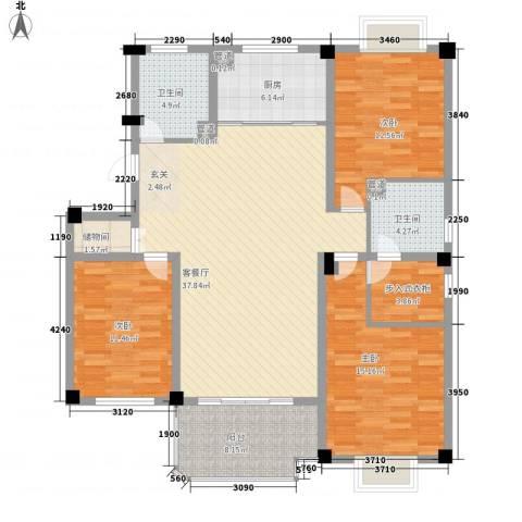北辰半岛花园3室1厅2卫1厨151.00㎡户型图