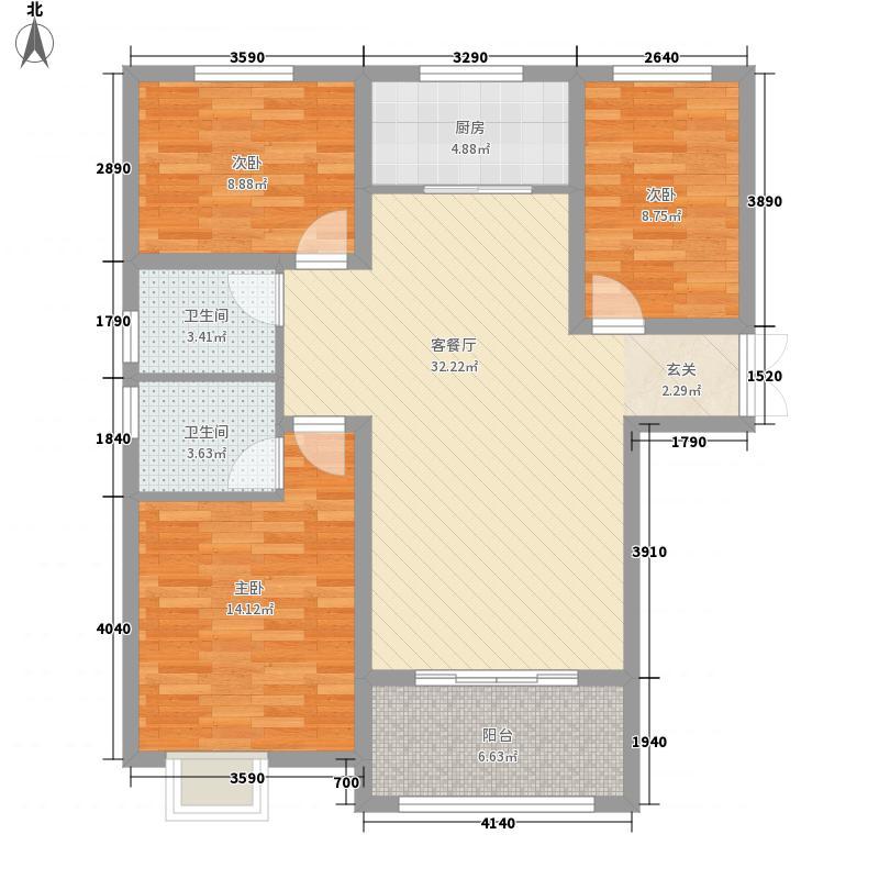 绿博景苑117.76㎡一期C1户型3室2厅1卫1厨