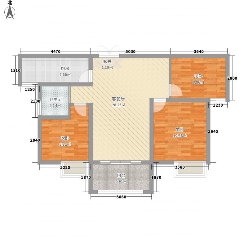绿博景苑16.13㎡一期C2户型3室2厅1卫1厨