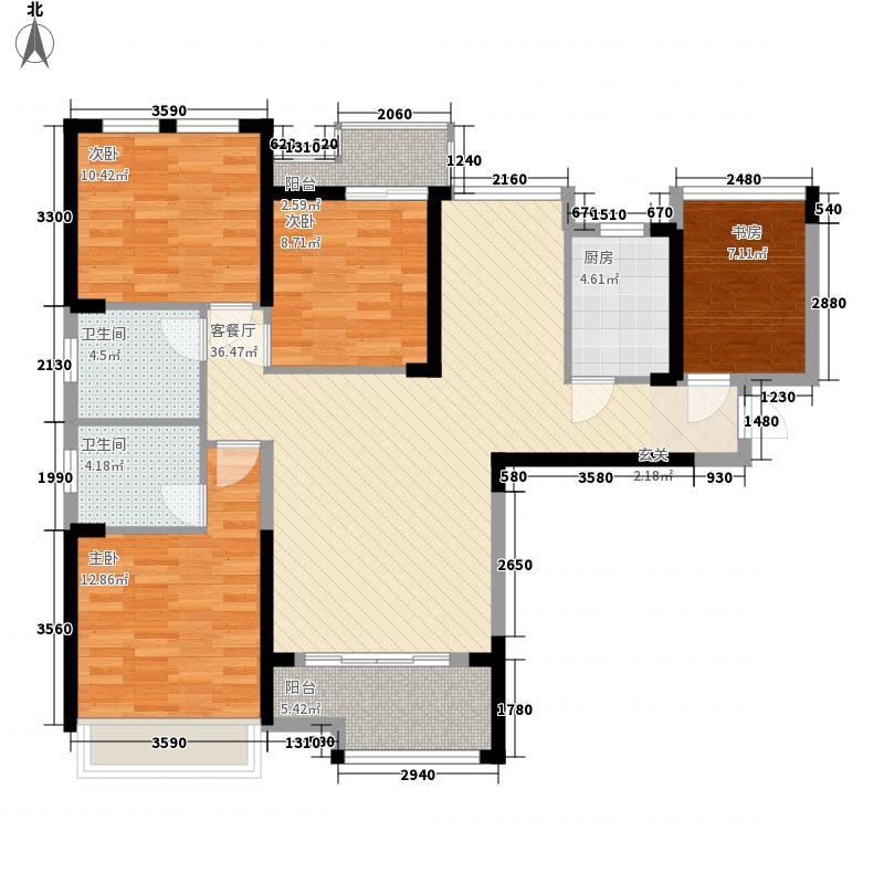 武汉万象城127.00㎡1、2、3栋3-c户型4室2厅2卫1厨
