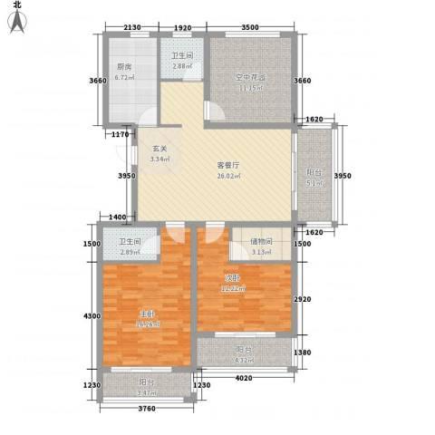 华夏春晓2室1厅2卫1厨136.00㎡户型图