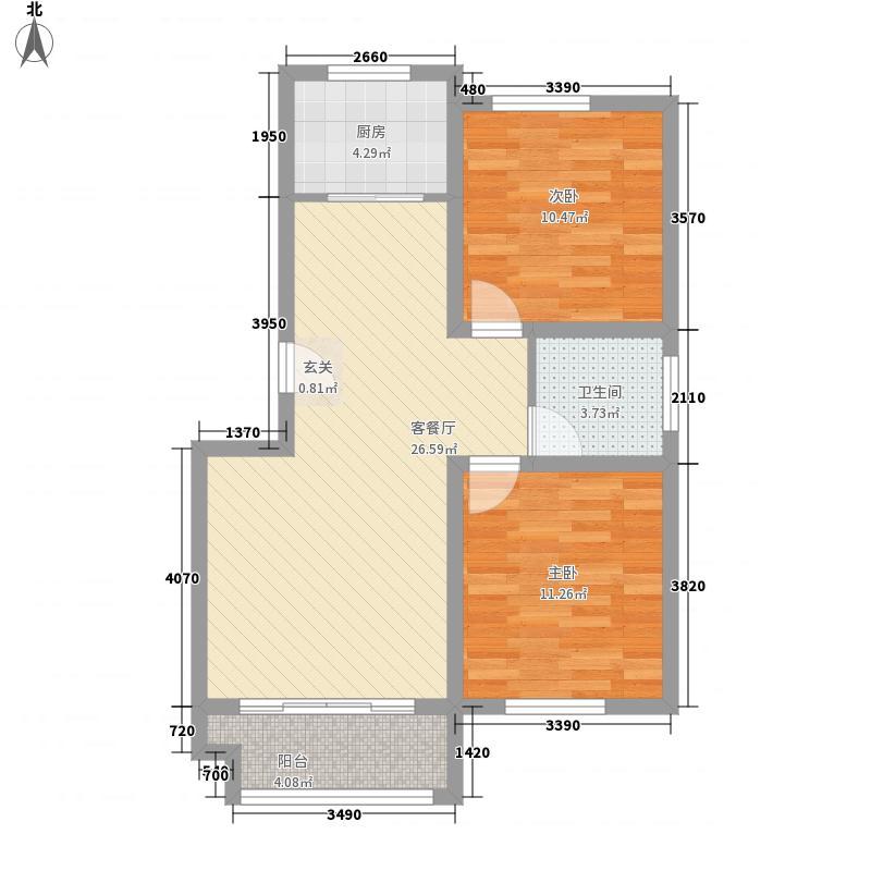 安泰书香苑87.00㎡A户型2室2厅1卫1厨