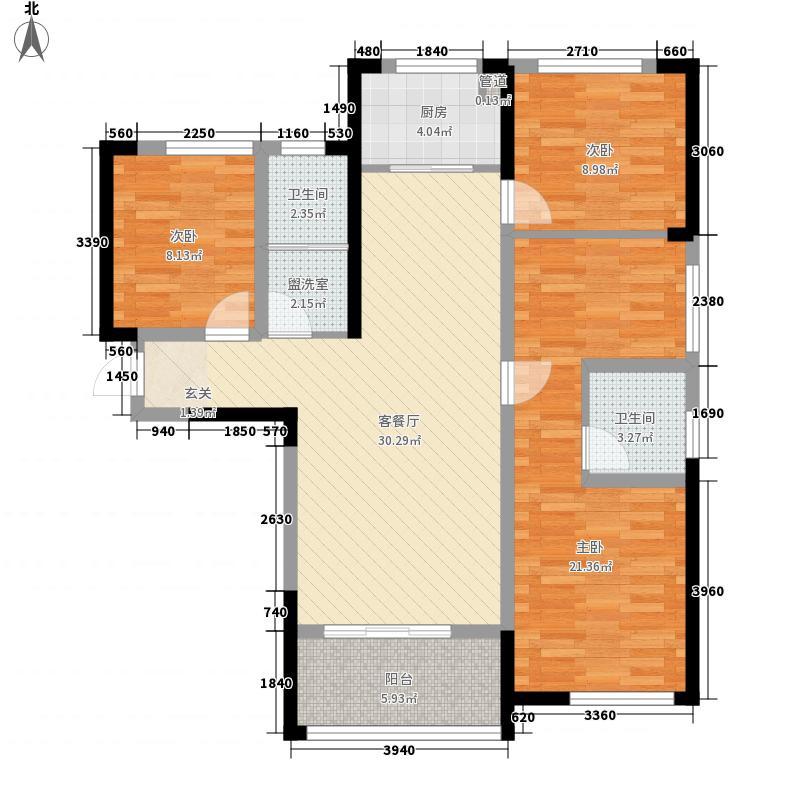 天纵城125.00㎡3号楼G户型4室2厅2卫1厨