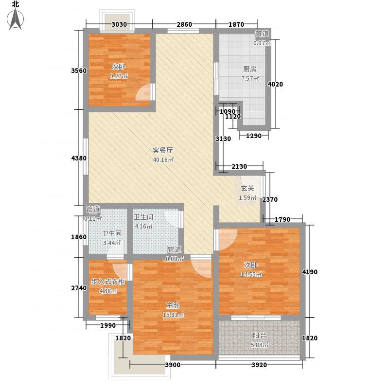 鼎邦丽池152.00㎡高层户型3室2厅2卫1厨