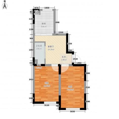 新星宇和源2室1厅1卫1厨66.00㎡户型图