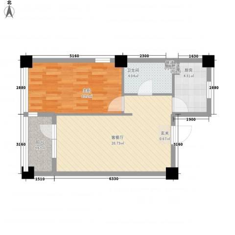 万科魅力之城1室1厅1卫1厨66.00㎡户型图