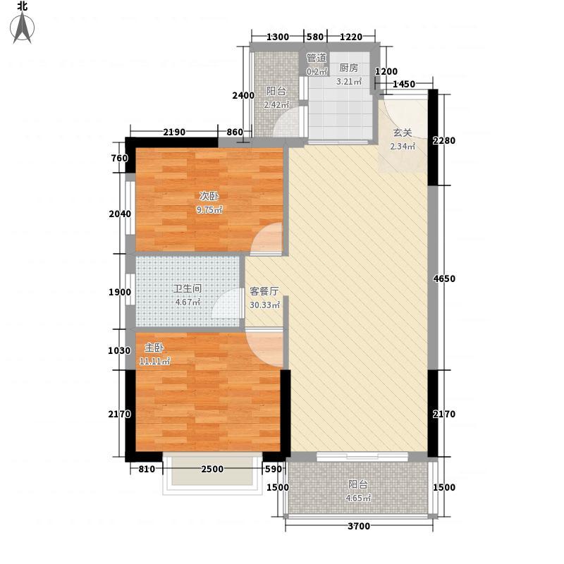 宏益公馆82.44㎡1期四批单位6栋标准层户型2室2厅1卫