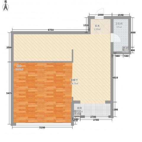 金兴星海国际1厅1卫0厨68.54㎡户型图