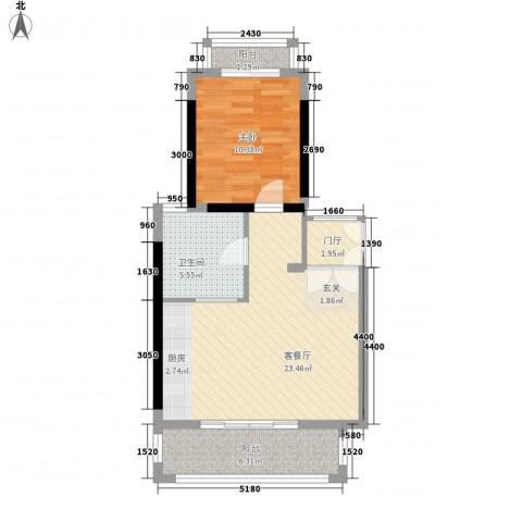 顺泽福湾1室1厅1卫0厨71.00㎡户型图