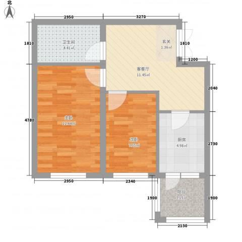 闻达绿都2室1厅1卫1厨43.78㎡户型图