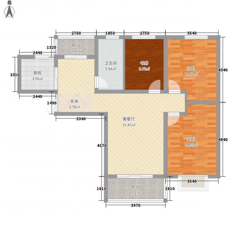 国泰一品庄园3室1厅1卫1厨124.00㎡户型图