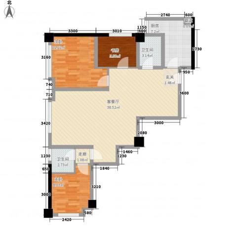 海�国际3室1厅2卫1厨79.09㎡户型图